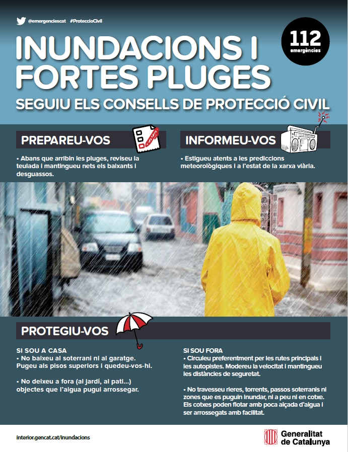 Cartell inundacions i fortes pluges